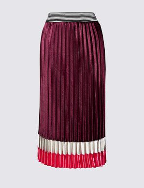 b4e7fab16 Colour Block Satin Pleated Midi Skirt   M&S Collection   M&S