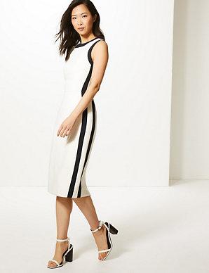 ac6e337b4e Colour Block Side Stripe Bodycon Midi Dress | M&S Collection | M&S