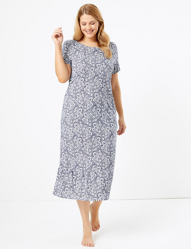 M/&S SIZE 22 EMBROIDERED NIGHTDRESS NIGHTIE COOL COMFORT BLUE MARKS AND SPENCER