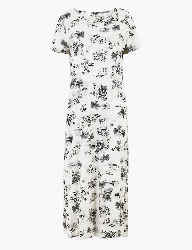 IW RRP £24 M/&S Collection Short Sleeve Floral Nightdress