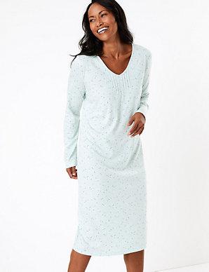 M/&S Ladies Short Sleeve Soft Jersey Fabric Standard Length Polka Dot Nightdress