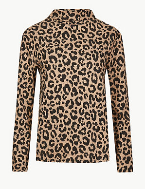 af229b15c7f7a1 Cosy Animal Print Funnel Neck Top | M&S Collection | M&S