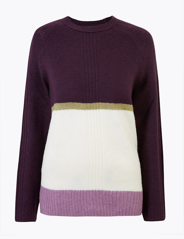 M/&S Colour Block Relaxed Jumper Size XS