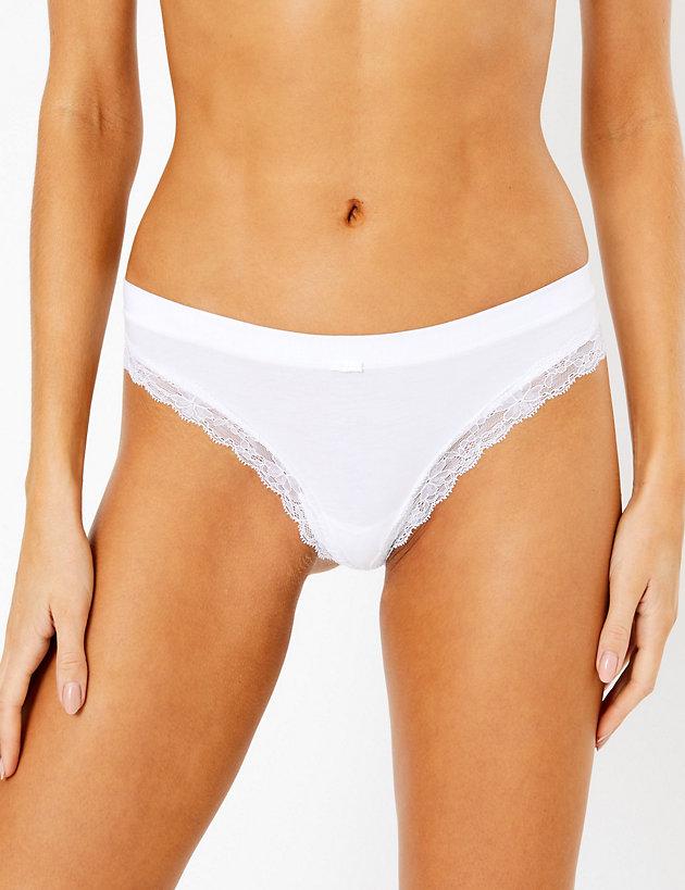 Cotton & Lace Cut Out Thong