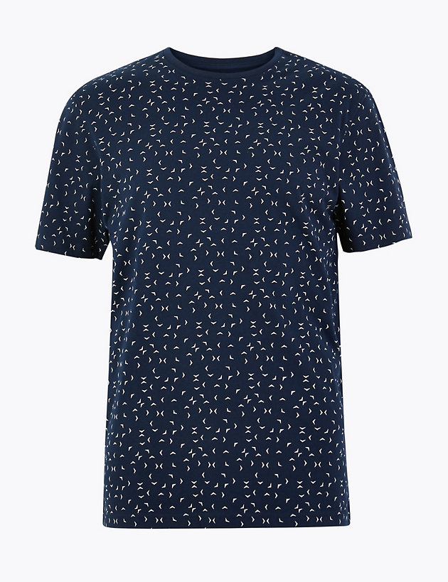 Cotton Bird Print T-Shirt