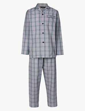 1a014eaf1 Cotton Blend Checked Pyjama Set | M&S Collection | M&S