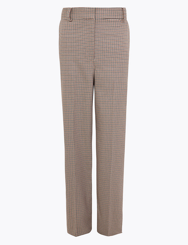 M/&S AUTOGRAPH Dogtooth Print Straight Leg Trousers