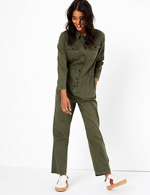 purchase newest classic chic new release Cotton Blend Utility Waisted Jumpsuit
