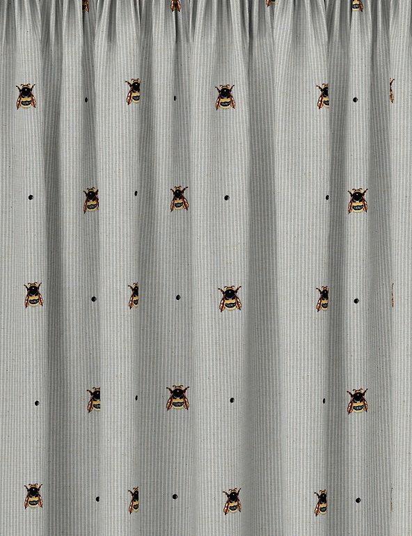 Cotton Mix Bee Pencil Pleat Blackout Curtains M S