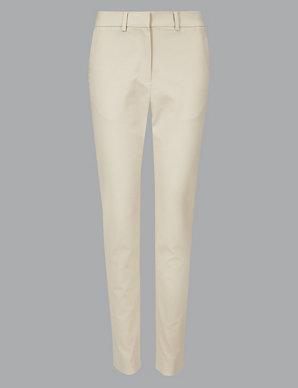 6ccd79a22baca Cotton Modal Slim Leg Ankle Grazer Trousers   Autograph   M&S