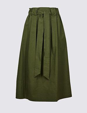 ccfee2e3fee1d Cotton Rich A-Line Midi Skirt | M&S Collection | M&S