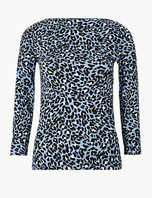 f14e17ad925e20 Cotton Rich Animal Print Fitted T-Shirt | M&S Collection | M&S