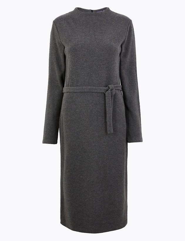 Cotton Rich Belted Midi Shift Dress