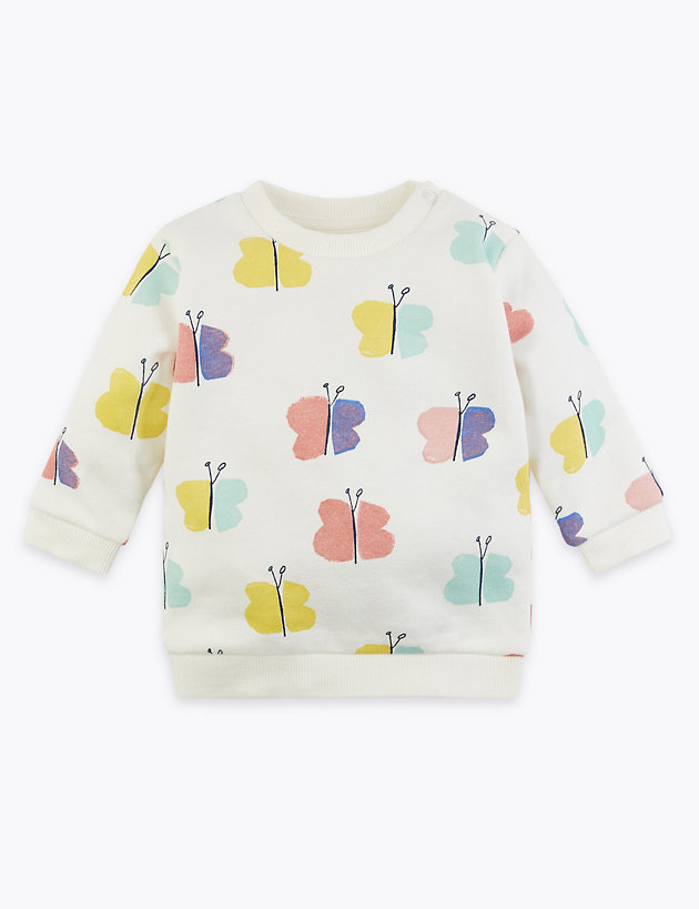 Cotton Rich Butterfly Print Sweatshirt