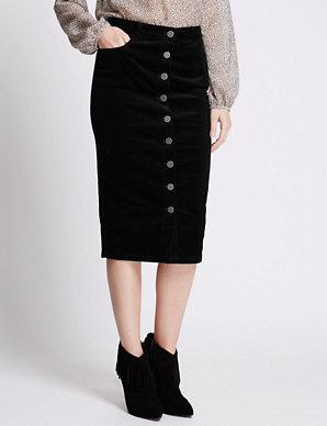 ba4ce9d856 Cotton Rich Button Through Corduroy Pencil Skirt   M&S Collection   M&S