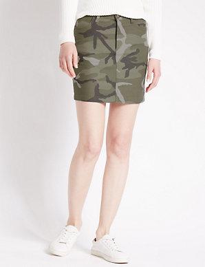 e5869699c17b5b Cotton Rich Camouflage Print A-Line Mini Skirt   Limited Edition   M&S