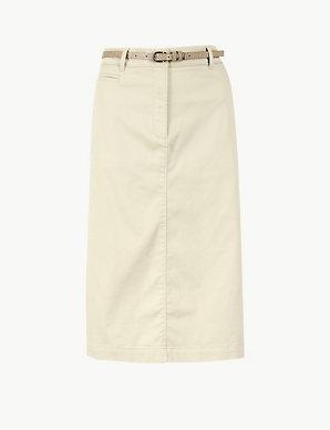 c13e7d0805 Cotton Rich Chino A-Line Skirt   M&S Collection   M&S