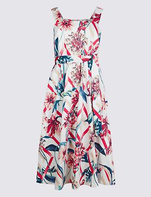4027d2ce8cd38 Cotton Rich Floral Print Skater Midi Dress | M&S Collection | M&S