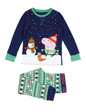 949acef7 Cotton Rich George Peppa Pig™ & Snowman Stay Soft Pyjamas (1-8 Years) | M&S