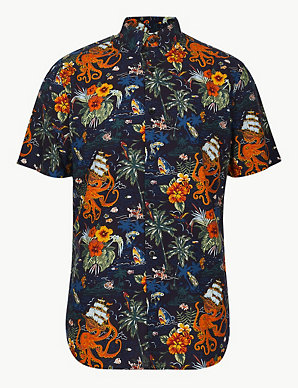 06199848 Cotton Rich Hawaiian Palm Print Shirt | Limited Edition | M&S