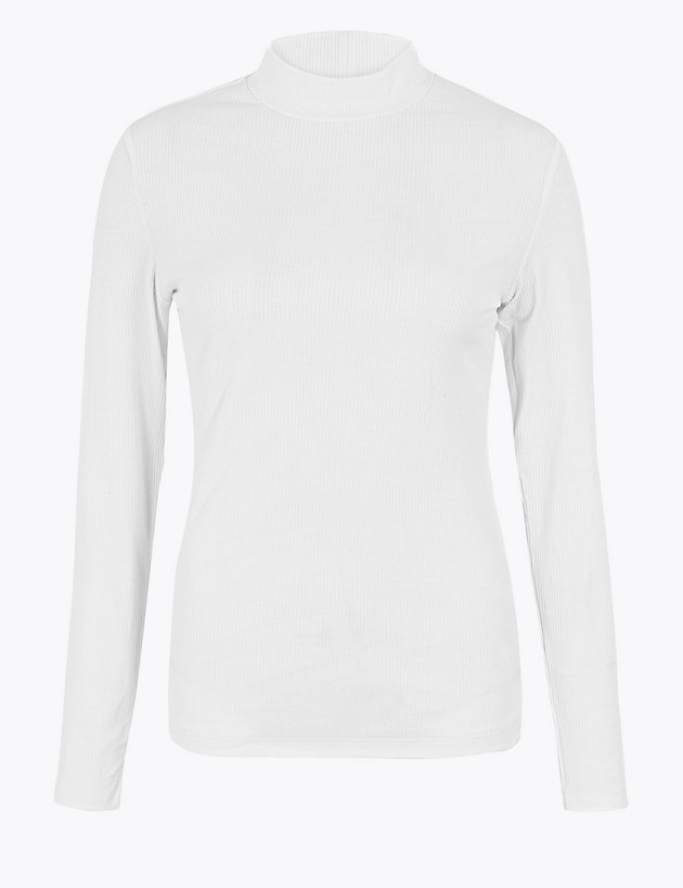 Cotton Rich Roll Neck Long Sleeve Top