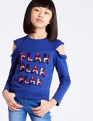 e1ca2b3a Cotton Rich Sequin Sweatshirt (3-14 Years)   M&S