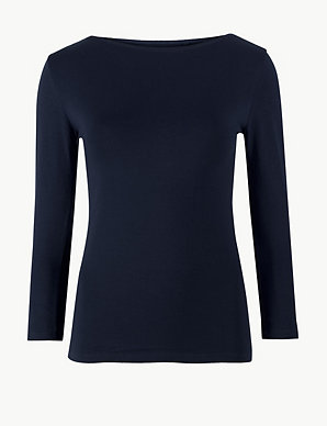 54c83af26a30f Cotton Rich Slash Neck Fitted T-Shirt   M&S Collection   M&S