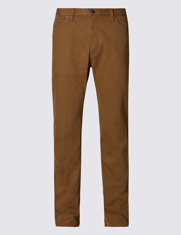 M/&S COLLECTION Cotton Rich Straight Fit Trousers