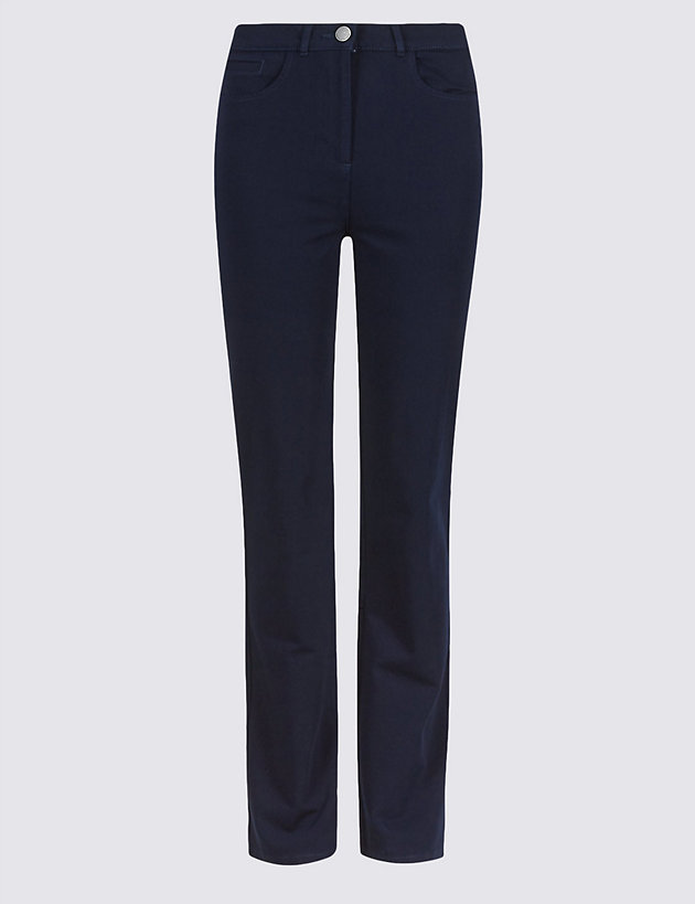 Cotton Rich Stretch Straight Leg Trousers