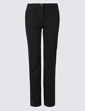 4a6bdfe19 Cotton Rich Stretch Straight Leg Trousers | M&S Collection | M&S