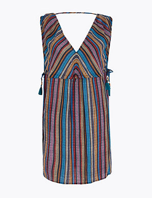 M /& S COLLECTION SLEEVELESS WRAP OVER  BEACH DRESS IN MIDNIGHT