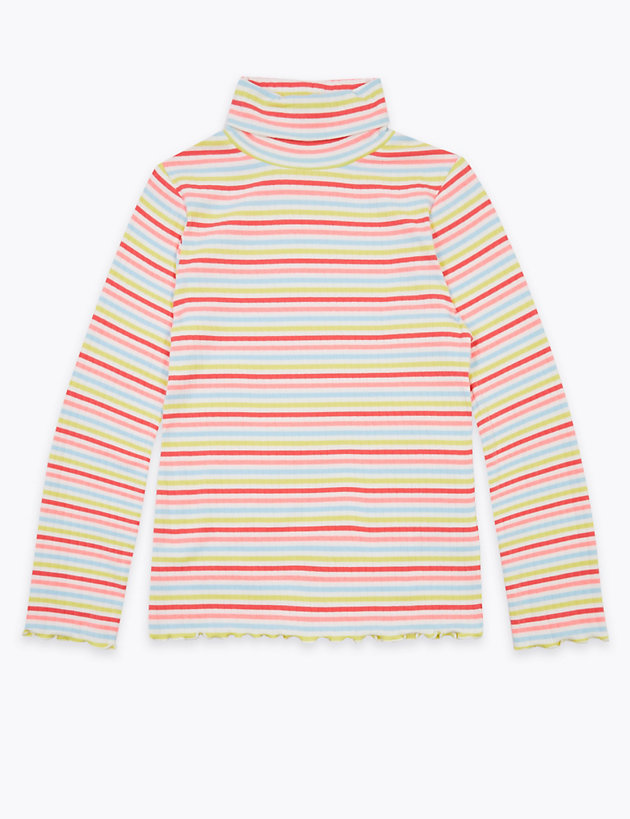 Cotton Rich Striped Roll Neck Top (6-16 Years)