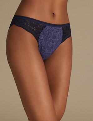 df908f101 Cotton Rich Vintage Lace High Leg Knickers