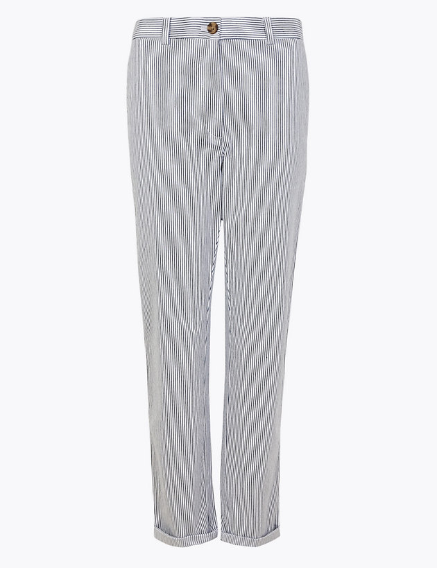 Cotton Striped Tapered Chinos