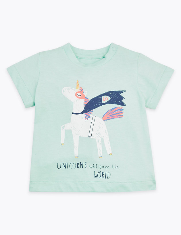 Cotton Unicorn Design T-Shirt