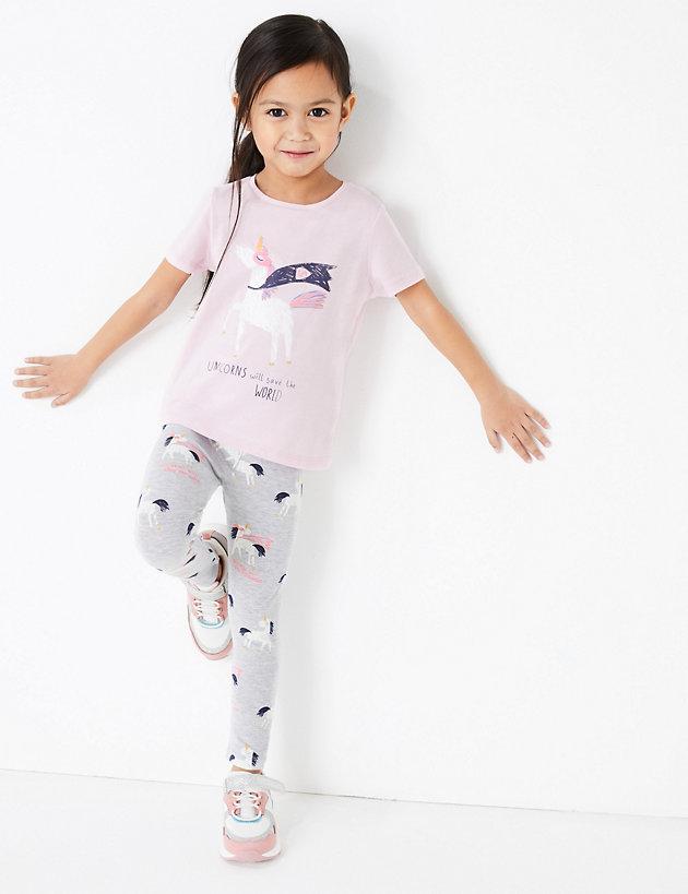2 Pairs Kids Girls Tights Soft Cotton Rich Unicorn Design Pink Grey 2-7 Years UK