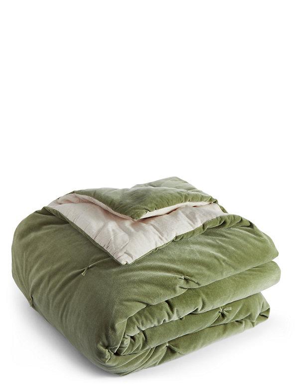 Cotton Velvet Tufted Bed Throw M S, Moss Green Velvet Bedding