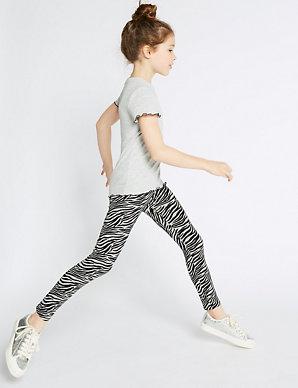 b3b1d59449940 Cotton Zebra Leggings with Stretch (3-16 Years) | M&S