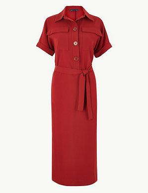 8c7f7ce5e56ec1 Crepe Tie Front Maxi Shirt Dress | M&S Collection | M&S