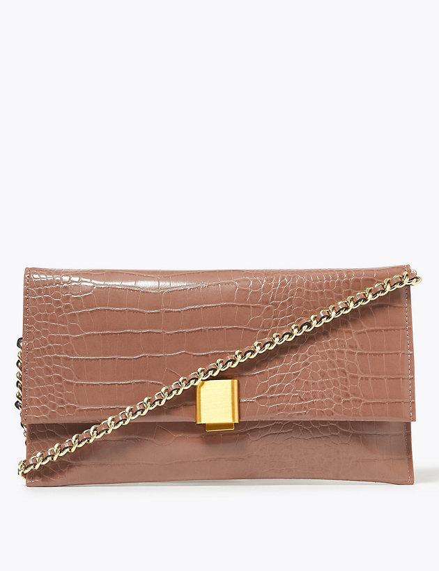 Croc Effect Chain Clutch Bag | M&S Collection | M&S