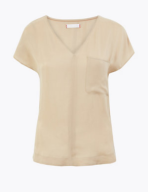 a74b17f89310 Cupro V-Neck Cap Sleeve Shell Top | Per Una | M&S