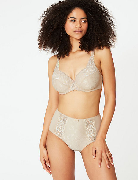 Floral Jacquard Lace Set with Full Cup DD+