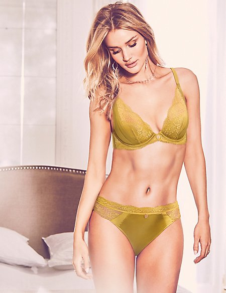 Silk & Lace Set with Padded Plunge A-E
