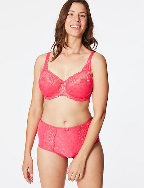 Jacquard & Lace Set with Non-Padded Full Cup DD-H