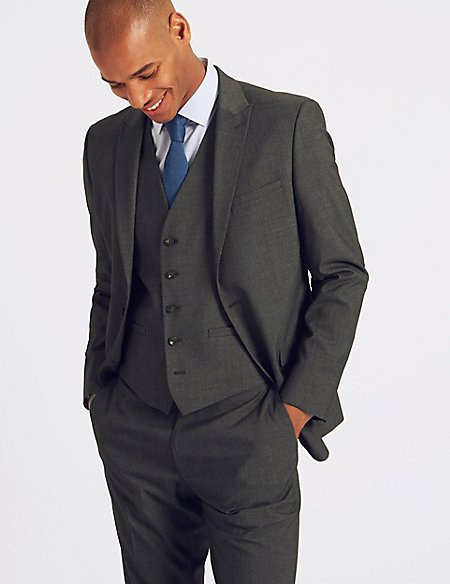 Charcoal Checked Slim Fit 3 Piece Suit