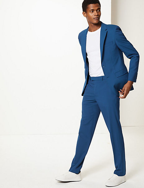Blue Slim Fit Suit with Stretch
