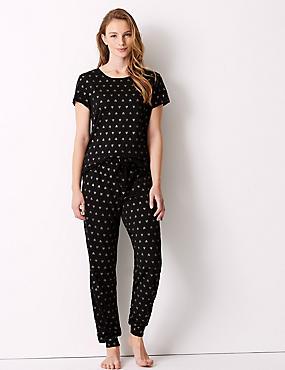 Glitter Heart Print Short Sleeve Pyjama Set, , catlanding