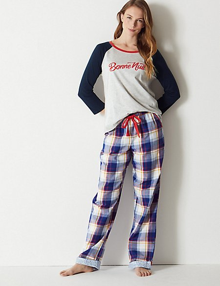 'Bonne Nuit' Slogan Pyjama Set