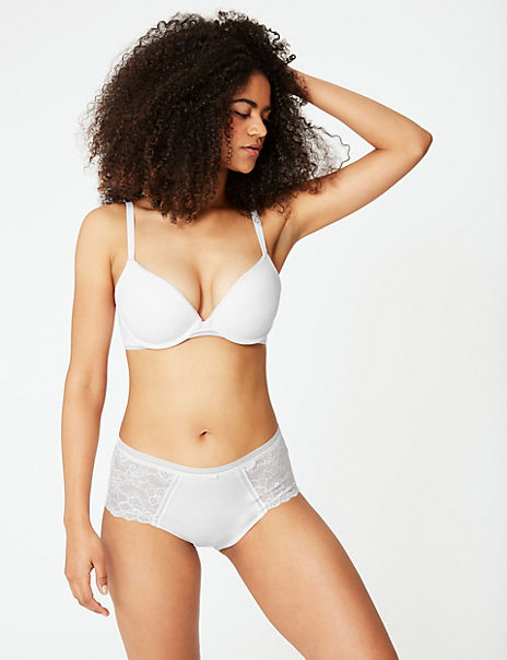 Body Lace Set with Padded Push-Up Plunge A-E