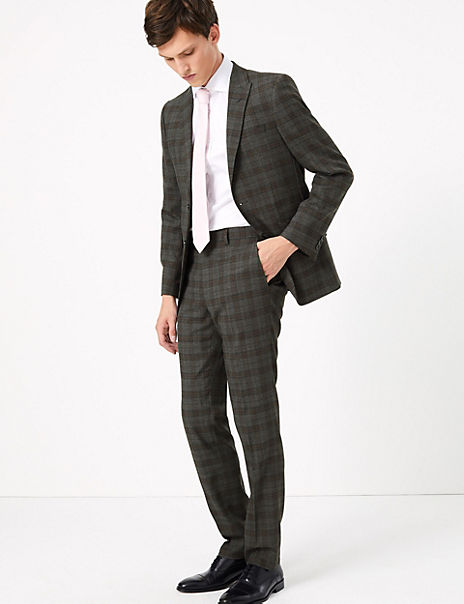 Slim Fit Wool Blend Checked Suit